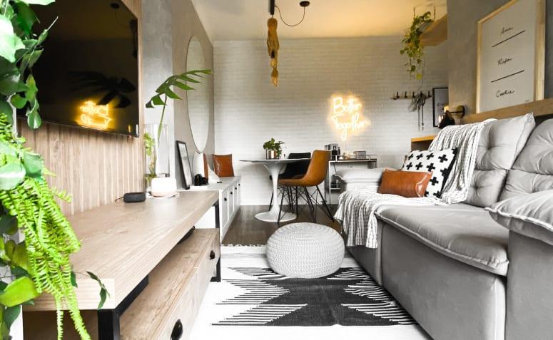 Déco industrielle et minimaliste se marient dans un appartement de 57m²